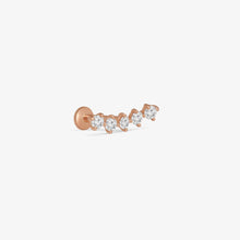 Load image into Gallery viewer, Diamond Constellation Ear Crawler Internally Threaded Stud Earrings | 14K Solid Gold | Piercing Fine Jewelry
