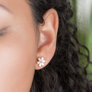 Diamond And Pearl Flower Earrings - estellacollection