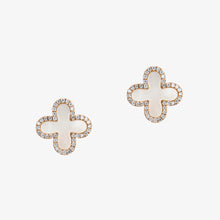 Load image into Gallery viewer, Clover Shape Diamond Stud Earrings In Gold And Mother Of Pearl - estellacollection