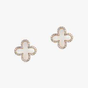 Clover Shape Diamond Stud Earrings In Gold And Mother Of Pearl - estellacollection