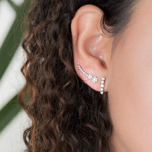 Load image into Gallery viewer, Diamond Flower Climber Earrings - estellacollection
