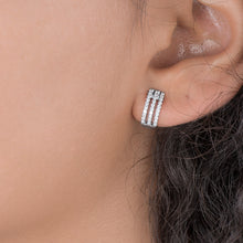 Load image into Gallery viewer, Three Row Diamond Huggie Hoop Earrings - estellacollection