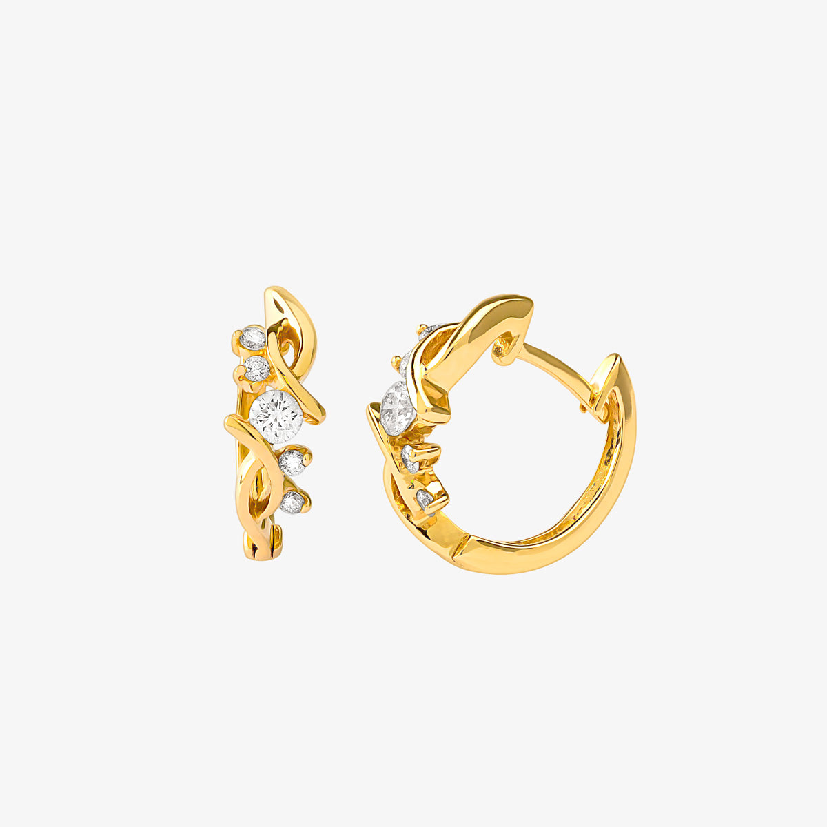 Gold And Diamond Mini Huggie Hoop Earrings - estellacollection
