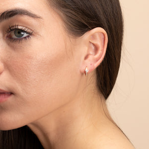 Petite Diamond Huggie Hoop Earrings In Solid Gold - estellacollection