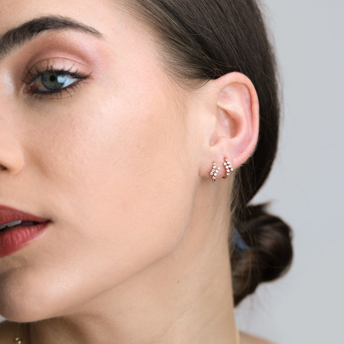 Diamond Fashion Mini Hoop Earrings - estellacollection