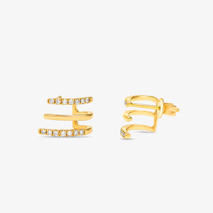Unique Diamond Half Huggie Earring In Solid Gold - estellacollection