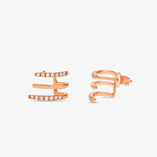 Load image into Gallery viewer, Unique Diamond Half Huggie Earring In Solid Gold - estellacollection