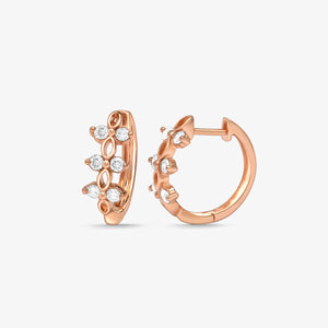 Mini Gold And Diamond Hoop Huggie Earrings - estellacollection