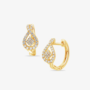 Gold And Diamond Huggie Hoop Earrings - estellacollection