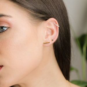 Bar Shape solid Gold Stud Earrings - estellacollection
