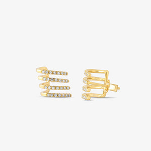 Half Moon Layering Huggie Diamond Earrings - estellacollection