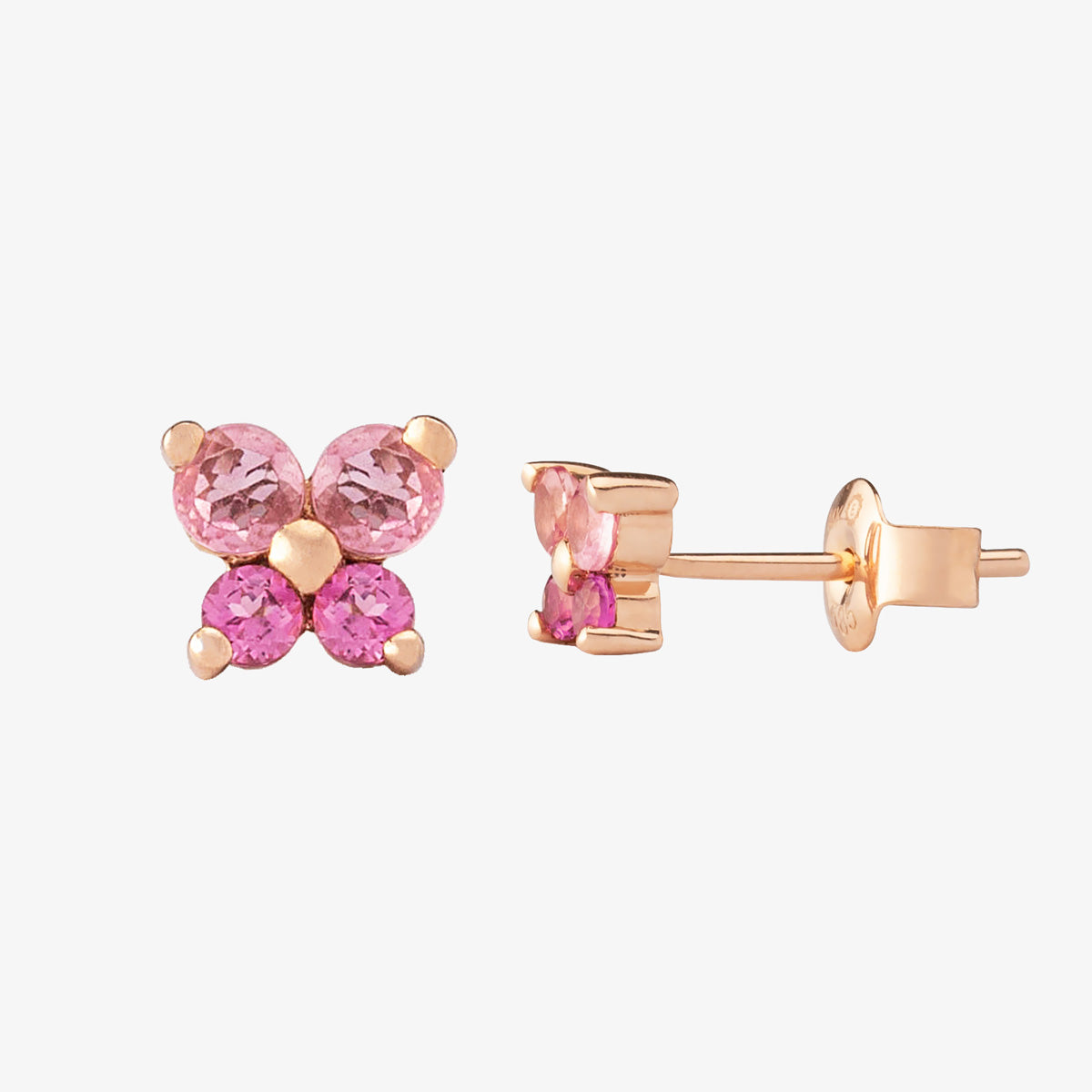 Unique Pink Tourmaline Stud Earring In Solid Gold - estellacollection