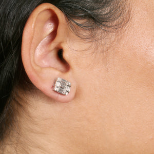 Baguette And Round Diamond Stud Earrings - estellacollection