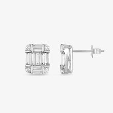 Load image into Gallery viewer, Baguette And Round Diamond Stud Earrings - estellacollection