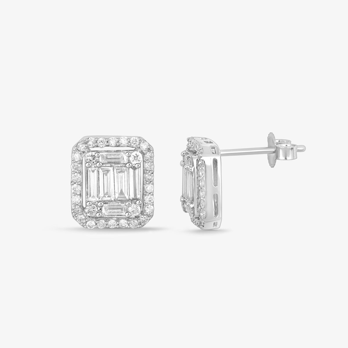 Halo Baguette And Round Diamond And Solid Gold Stud Earrings - estellacollection