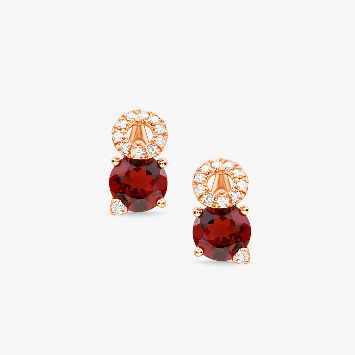 Diamond And Garnet Stud Earrings - estellacollection
