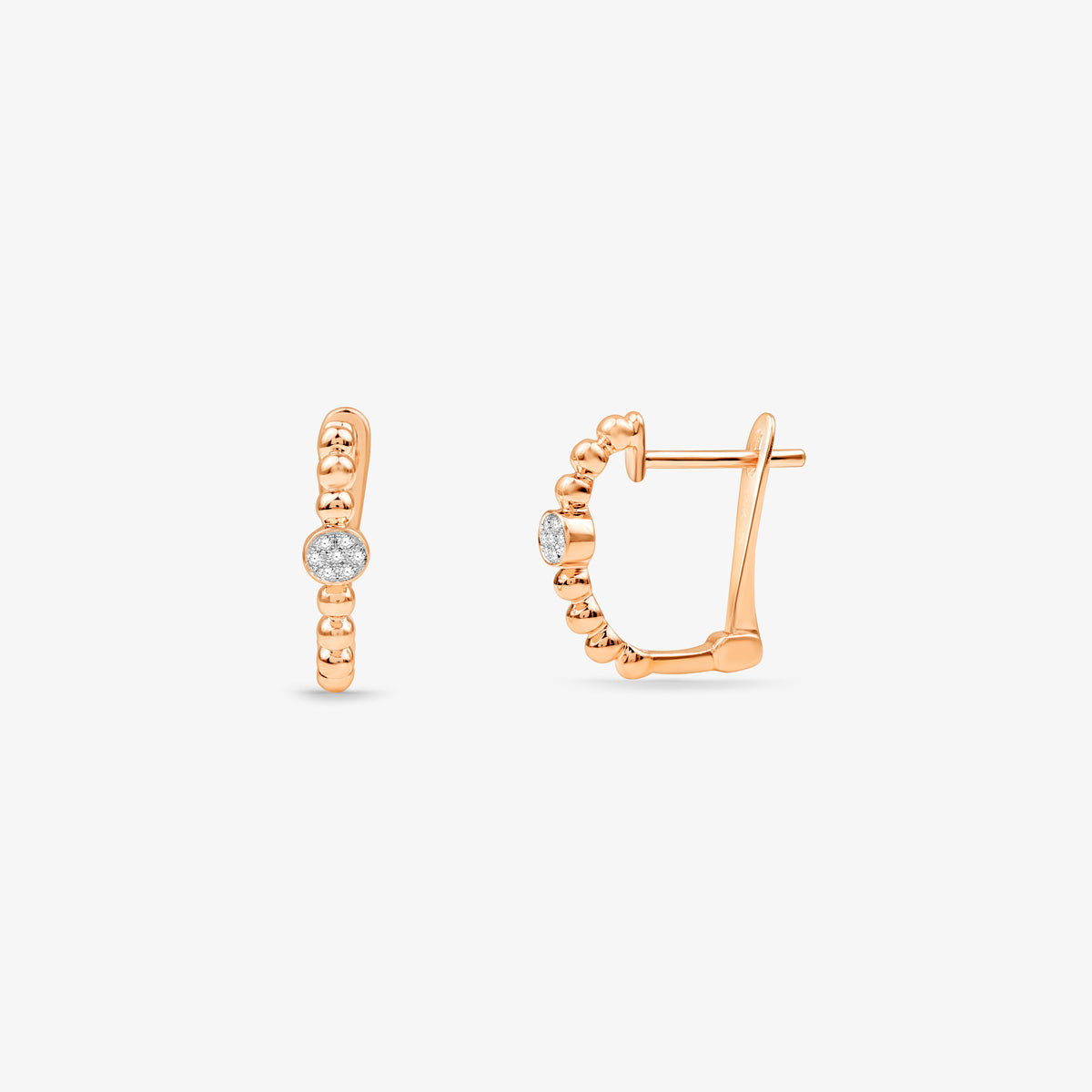 Beaded Huggie Hoop Diamond Earrings In  Solid Gold - estellacollection