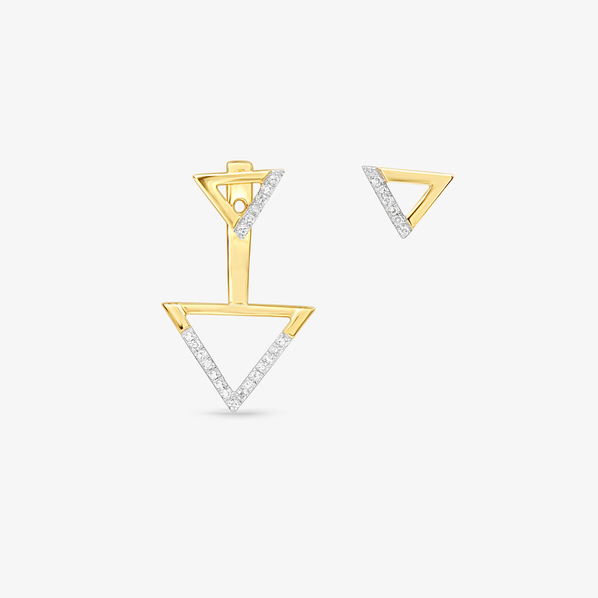 Two Way-Drop Or Stud Diamond Earrings In Solid Gold - estellacollection