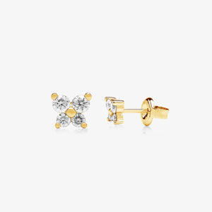 Linea - Nature Inspired Diamond Stud Earring In Solid Gold - estellacollection