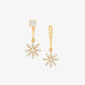 Two In One Diamond Fashion Drop/Stud Earrings