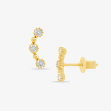 Load image into Gallery viewer, 3 Diamond Stud Crawler Earrings - estellacollection