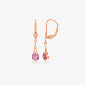 14K Rose Gold Diamond and Amethyst Lever Back Drop Earrings