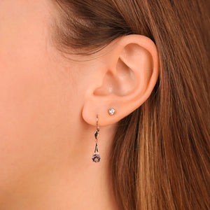 Diamond And Amethyst Lever Back Drop Earrings - estellacollection