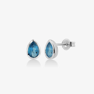 Pear-Shaped Blue Topaz Stud Earrings - estellacollection