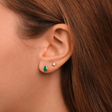 Load image into Gallery viewer, Pear-Shaped Green Agate Stud Earrings - estellacollection