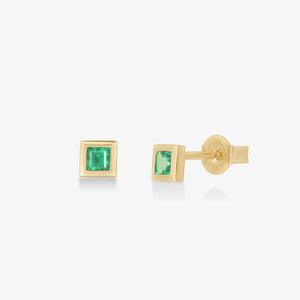 Women's Princess Cut Emerald Stud Earrings - estellacollection
