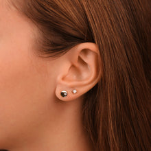 Load image into Gallery viewer, Petite Disc Diamond Stud Earrings In Solid Gold - estellacollection