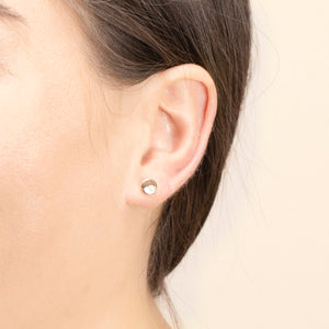 Petite Disc Diamond Stud Earrings In Solid Gold