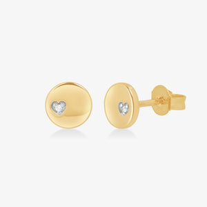 Petite Disc Diamond Stud Earrings In Solid Gold - estellacollection