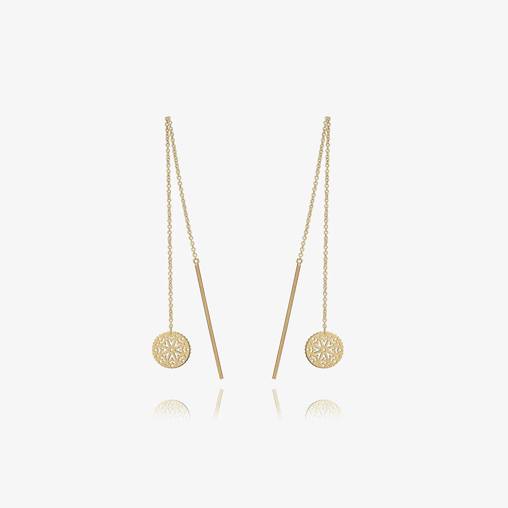 Solid Gold Medallion Statement Dangle Earrings - estellacollection