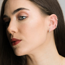 Load image into Gallery viewer, Gold And Diamond Line Hoop Earrings - estellacollection