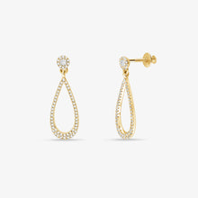 Load image into Gallery viewer, Stunning Diamond And Solid Gold Elongated Teardrop Dangle Earrings - estellacollection