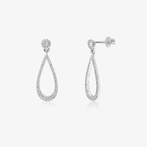 Stunning Diamond And Solid Gold Elongated Teardrop Dangle Earrings - estellacollection