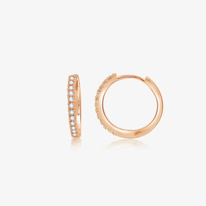 Sophisticated Diamond 14k Gold Hoop Earrings - estellacollection
