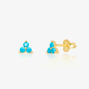 Turquoise Stone Triangle Studs - estellacollection