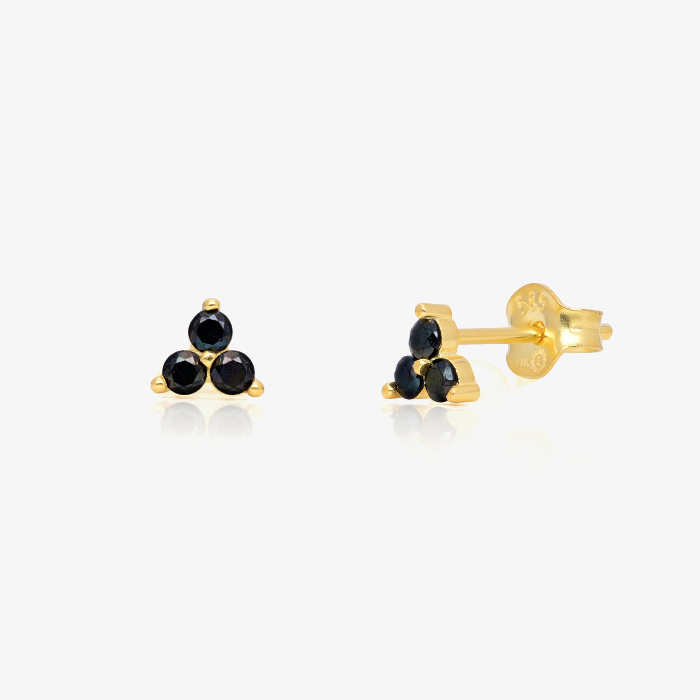 Onyx Black Stone Triangle Studs - estellacollection