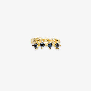 Lara - Black Onyx Stone Fringe Mini Hoops - estellacollection