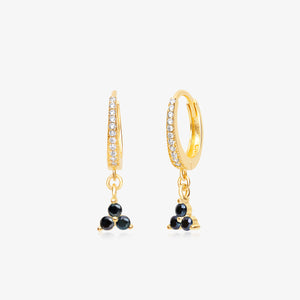 Black Bead Mini Hoops - Pair - estellacollection
