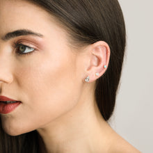 Load image into Gallery viewer, Chic Baguette Diamond And Solid Gold Oval Shape Studs - estellacollection