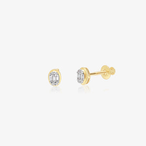Sparkling Mixed Diamond Gold Oval Studs - estellacollection