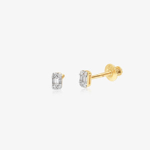 Baguette And Round Diamond Studs - estellacollection