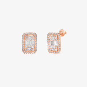 Luxurious Mixed Diamond 14k Gold Vintage Style Halo Studs - estellacollection