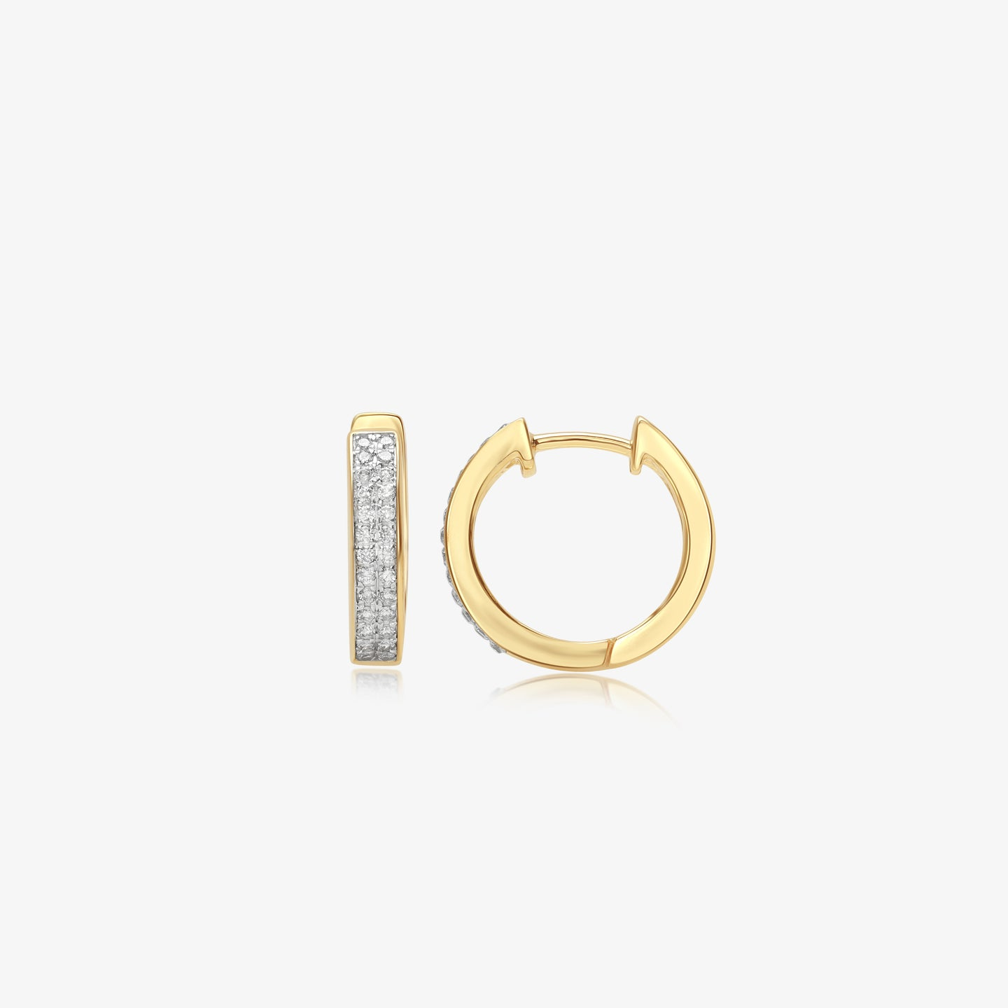 Diamond Double Row 14k Hoops - estellacollection