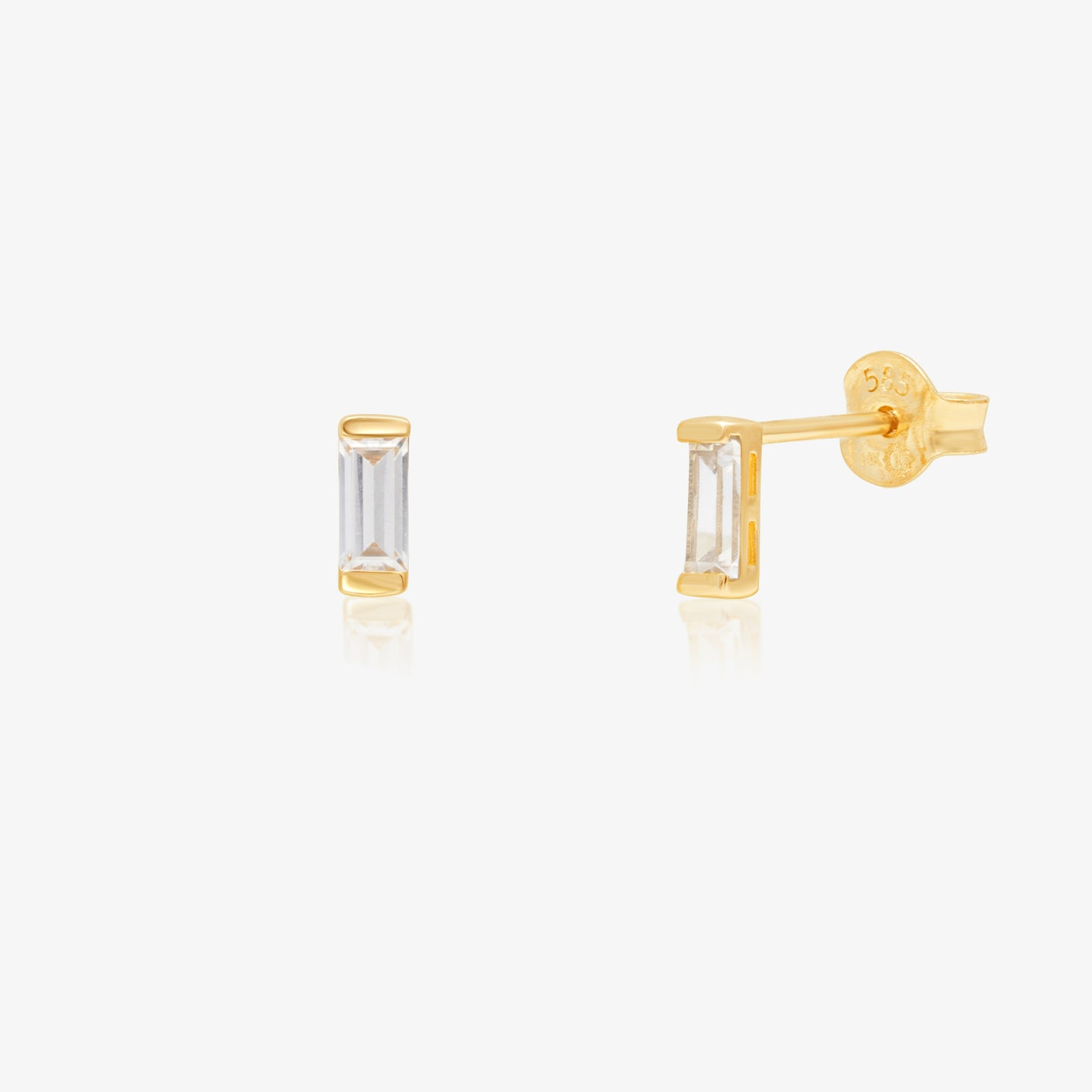 Clear Baguette Gold Earrings - estellacollection