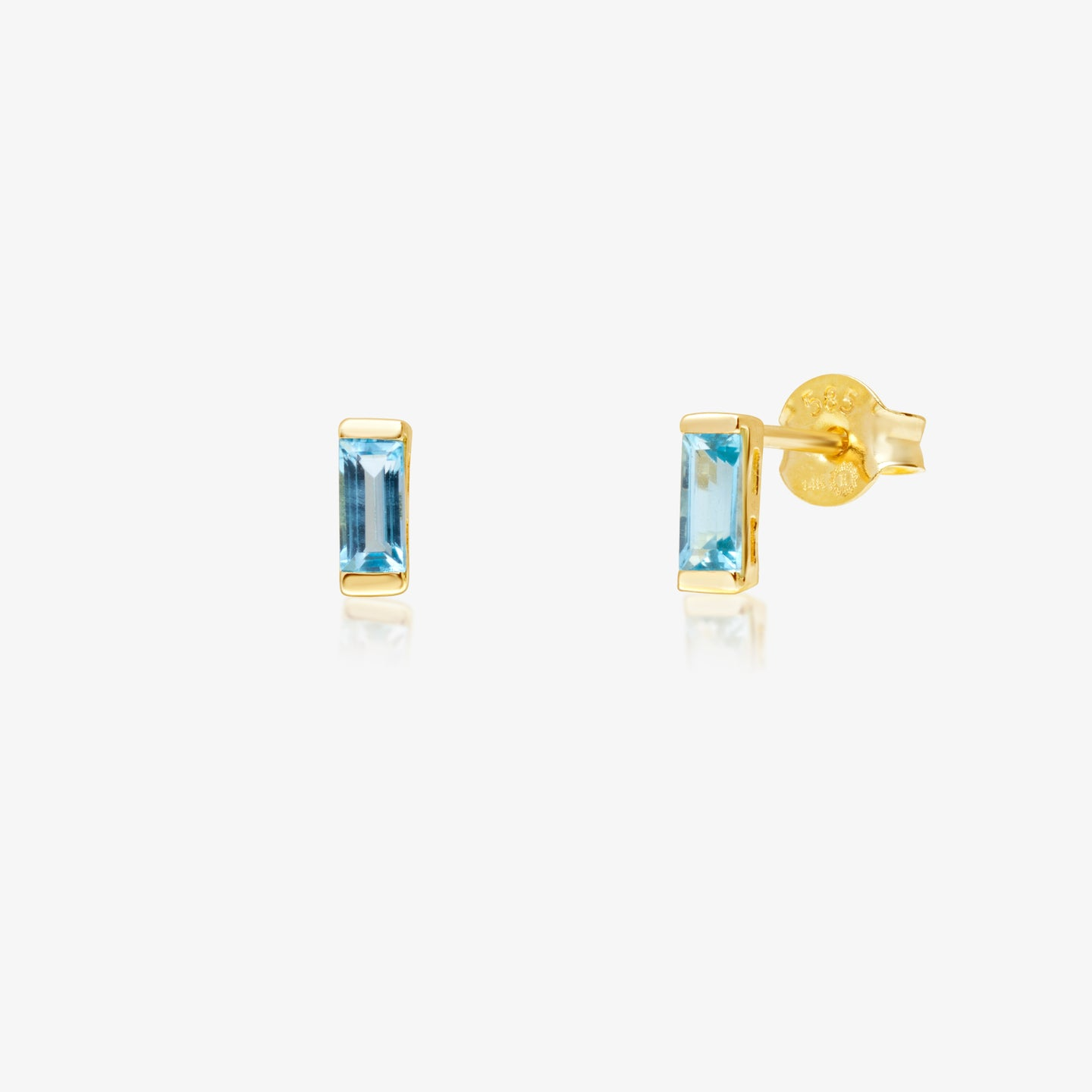 Blue Baguette Stud Earrings - estellacollection