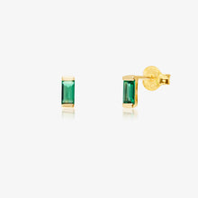 Load image into Gallery viewer, Green Baguette In Solid Gold Earrings - estellacollection